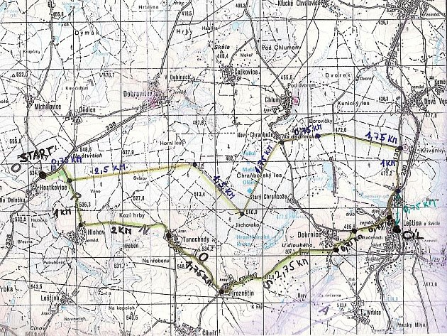 Mapka s vyznačením dvou tras 65. přechodu okresem, tentokrát z Hostkovic do Leštiny.