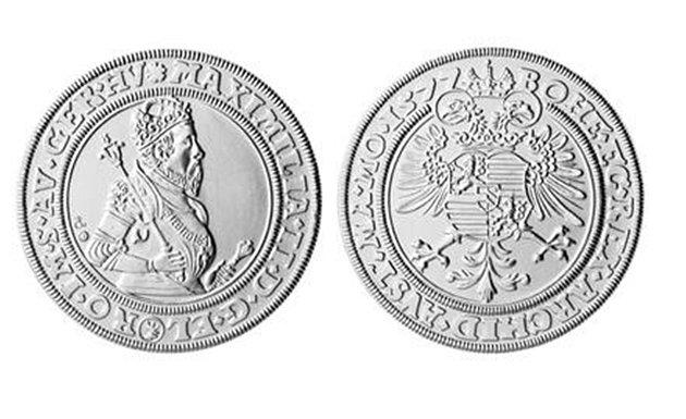 Kutnohorský tolar s tváří Maxmiliána II.