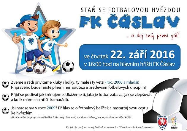 Pozvánka na fotbalový nábor vČáslavi.