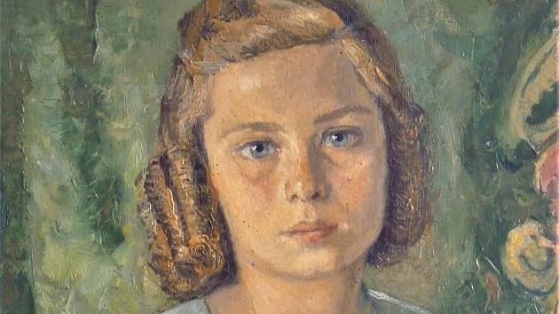 Portrét mladé dívky od kutnohorského malíře Josefa Krčila (1906 - 1985).