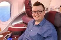 Radim Fedorovič v letadle na cestě do Íránu.