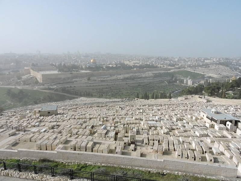 Olivová hora nad Getsemanskou zahradou v Jeruzalémě.