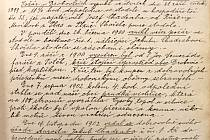 Výňatek z drobovické kroniky. Ta je uložena ve Státním okresním archivu v Kutné Hoře.