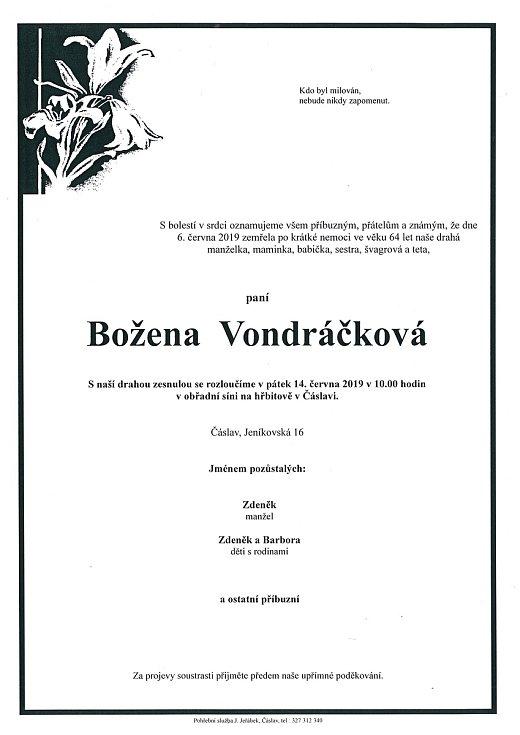 Smuteční parte: Božena Vondráčková.