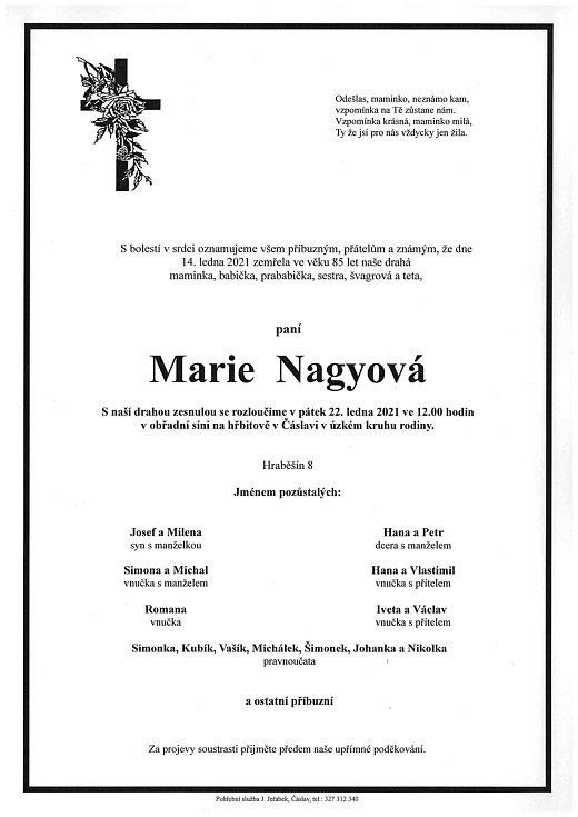 Smuteční parte: Marie Nagyová.