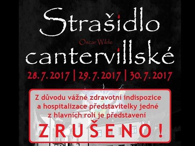 Představení Strašidlo cantervillské je zrušeno.
