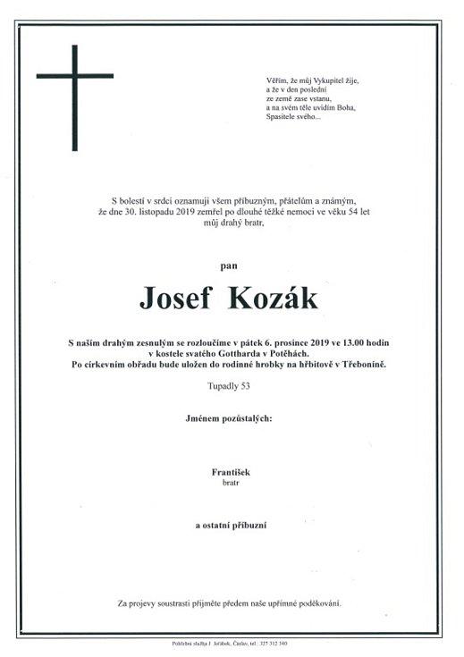 Smuteční parte: Josef Kozák.
