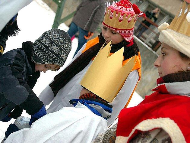 Živý betlém u Duhového atria v Trebišovské v Kutné Hoře. 6.1.2011