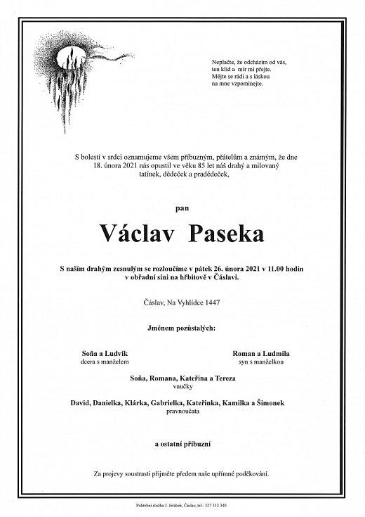 Smuteční parte: Václav Paseka.