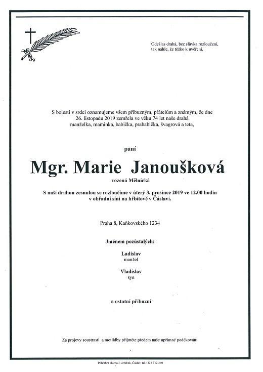 Smuteční parte: Mgr. Marie Janoušková.