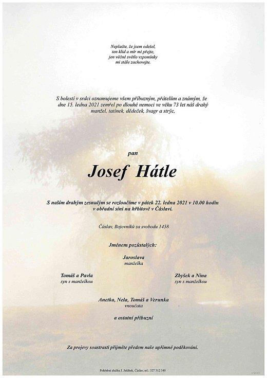 Smuteční parte: Josef Hátle.