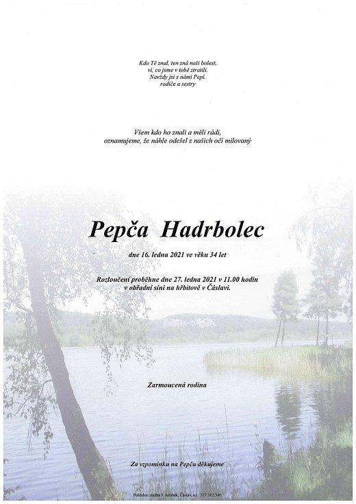 Smuteční parte: Josef Hadrbolec.