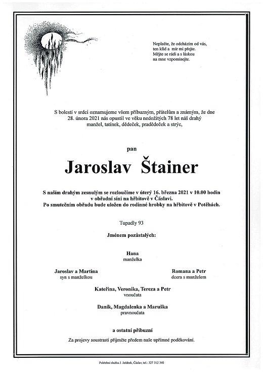 Smuteční oznámení: Jaroslav Štainer.