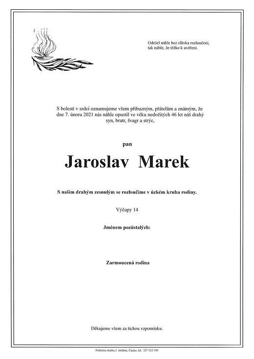 Smuteční parte: Jaroslav Marek.