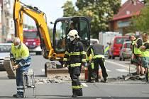 Havárie plynu v Masarykově ulici v Kutné Hoře.