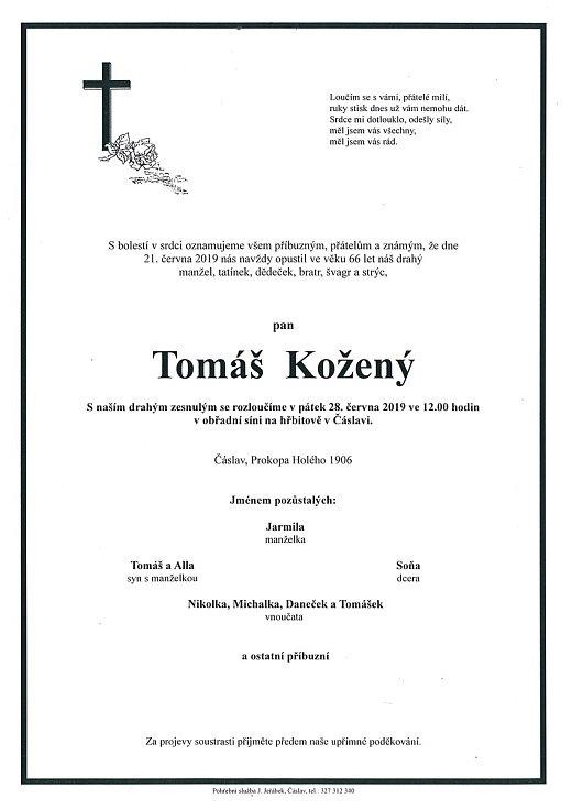 Smuteční parte: Tomáš Kožený.