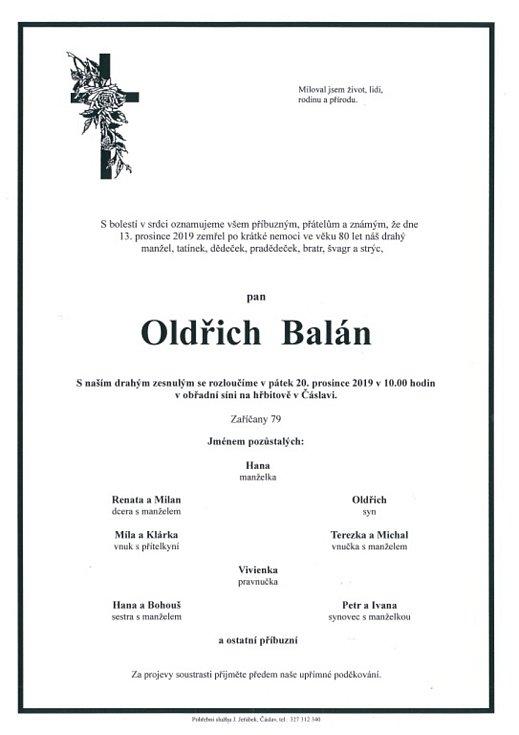 Smuteční parte: Oldřich Balán.