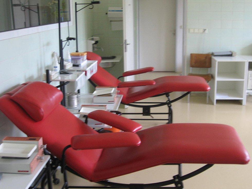 Transfuzní stanice v Městské nemocnici Čáslav.