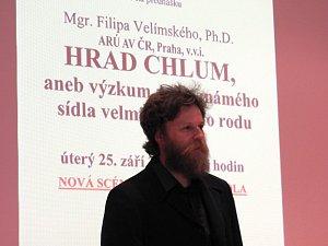 Filip Velímský přednášel o hradu Chlum u Čáslavi.