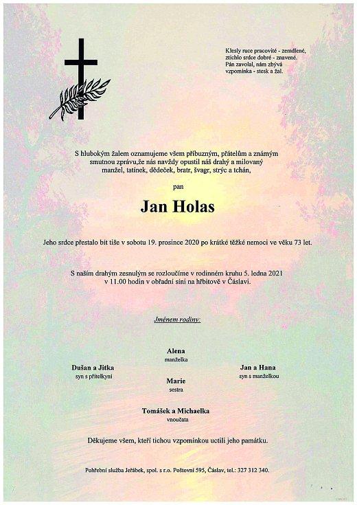 Smuteční parte: Jan Holas.