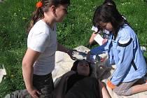 Okresní kolo hlídek mladých zdravotníků v parku pod Vlašským dvorem v Kutné Hoře.