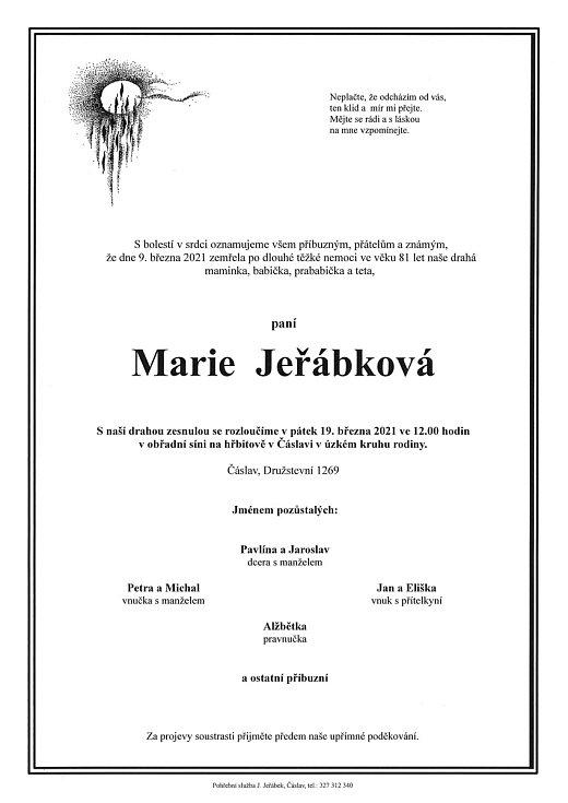 Smuteční oznámení: Marie Jeřábková.
