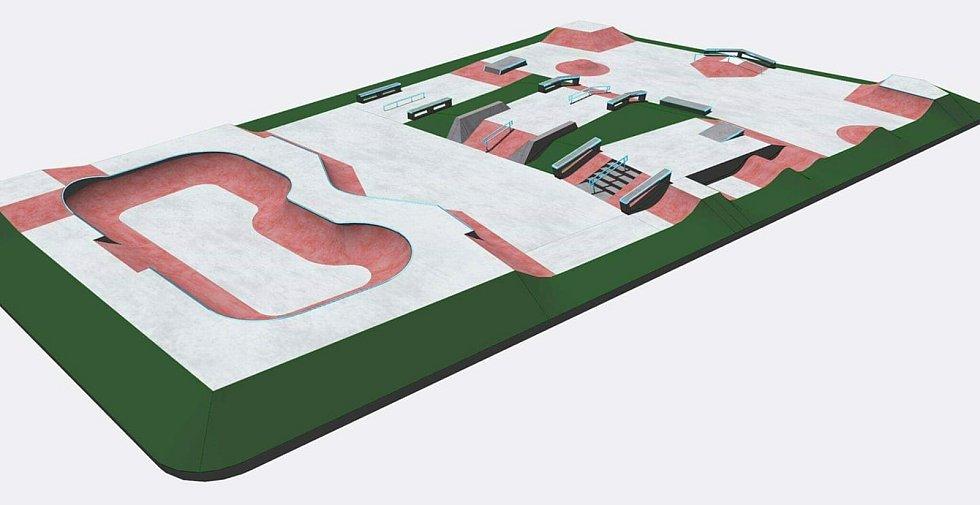 Plánek skateparku v areálu sportovní haly Klimeška v Kutné Hoře.