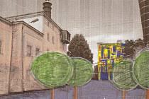 Skica možné podoby nádvoří kutnohorského pivovaru i s novou moderní budovou.