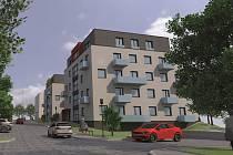 Vizualizace dvou nových bytových domů v areálu bývalých kasáren v Čáslavi.