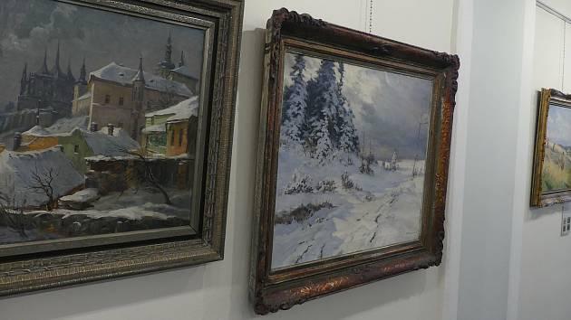 Z výstavy 'Obrazy z dob našich prababiček' v Městském muzeu a knihovně v Čáslavi.