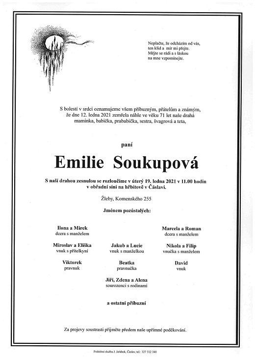 Smuteční parte: Emilie Soukupová.