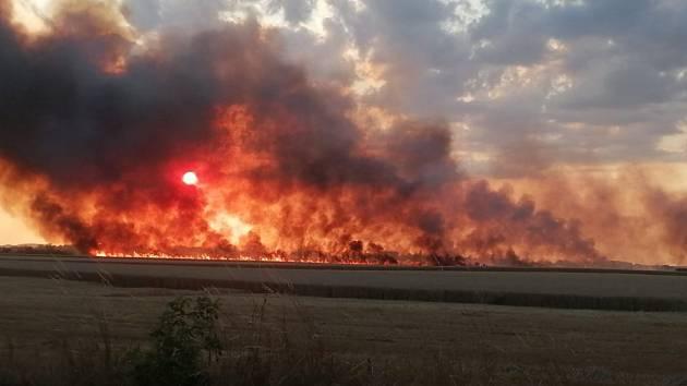 Požár na poli u obce Vlačice 26. července 2019.