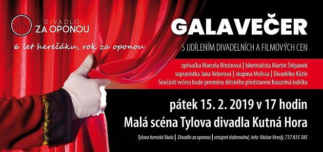 Pozvánka na galavečer na Malé scéně Tylova divadla vKutné Hoře.