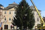 Instalace vánočního stromu ze Svatého Mikuláše na Palackého náměstí v Kutné Hoře.