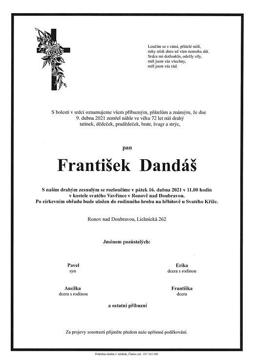 Smuteční oznámení: František Dandáš.