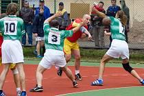 Z utkání Společné regionální ligy v házené mužů Kutná Hora - Mělník (22:19)