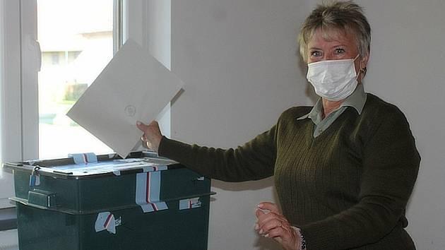 Parlamentní volby v hasičské zbrojnici v Neškaredicích.