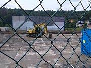 Výstavba multifunkční sportovní haly v Kutné Hoře v polovině června roku 2017.