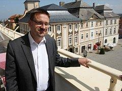 Martin Starý na balkóně hotelu Mědínek.