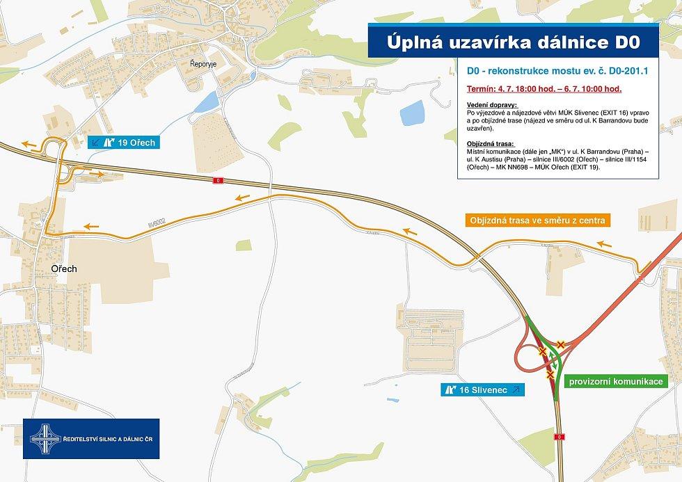 Uzavírka dálnice D0 vyznačená na mapě.
