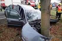 Dopravní nehoda osobního a nákladního automobilu na silnici I/38 v katastru obce Bratčice v úterý 8. ledna 2018.