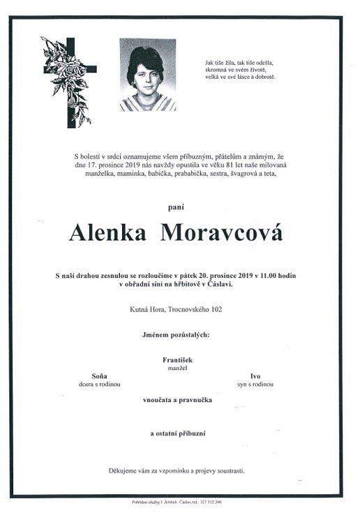 Smuteční parte: Alenka Moravcová.