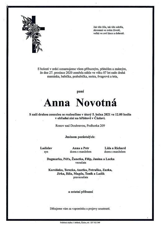 Smuteční parte: Anna Novotná.