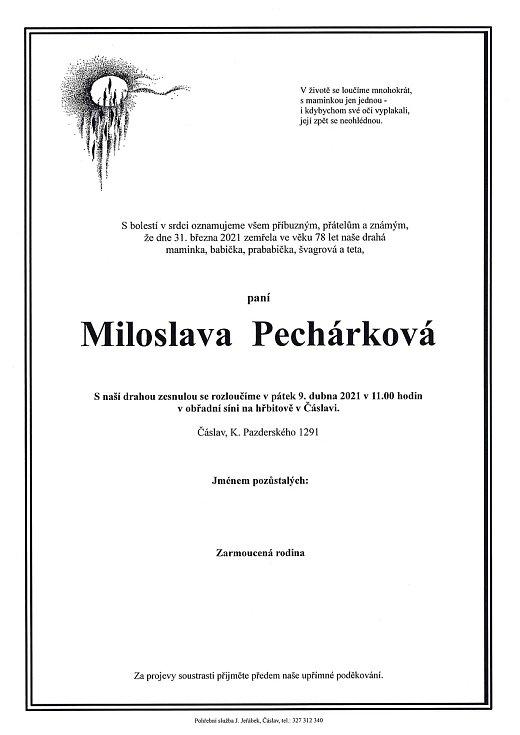 Smuteční rozloučení: Miloslava Pechárková.