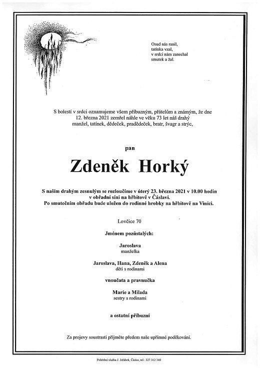 Smuteční oznámení: Zdeněk Horký.
