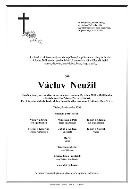 Smuteční parte: Václav Neužil.