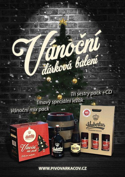 Vánoční dárková balení piva z kácovského pivovaru Hubertus.