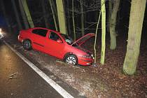 Dopravní nehoda v lesním úseku mezi obcemi Svatá Kateřina a Záboří nad Labem.