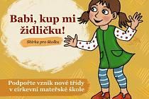 Grafická upoutávka na sbírku na rozšíření Církevní mateřské školy sv. Jakuba v Kutné Hoře.