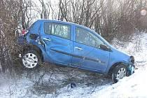 Dopravní nehoda na silnici I/38 mezi Horkami a Drobovicemi.